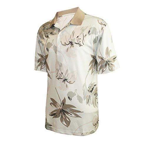 Khaki Leaf - Monterey Club Mens Dry Swing Leaf Shadow Polo Shirt #1534 (Ice/Khaki, X-Large)