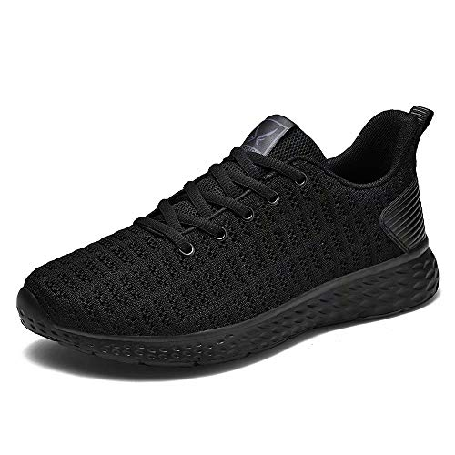 (Bjyun Mens Womens Walking Shoes Road Running Shoe Casual Fashion Sneakers Breathable Sports Shoes for Men and Women Black)