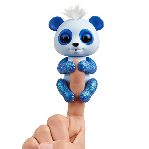 WowWee Fingerlings Glitter Panda - Archie (Blue) - Interactive Collectible Baby Pet by WowWee