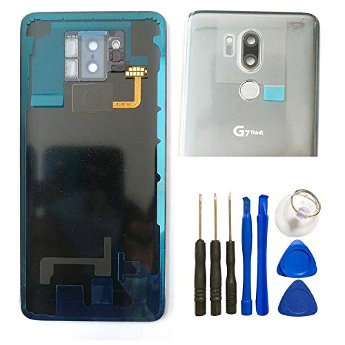 Glass Battery Back Cover for LG G7 - Battery Door Cover + Fingerprint Flex Sensor + Camera Glass Lens Cover Replacement Parts (Waterproof) with Opening Tool (as The Picture) for LG G7 G710ULM G710VMX from UPONEW