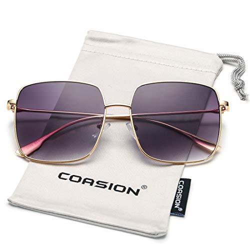 - COASION Oversized Fashion Square Sunglasses for Women Designer Metal UV400 Sun Glasses (Gold Frame/Gradient Grey Lens)