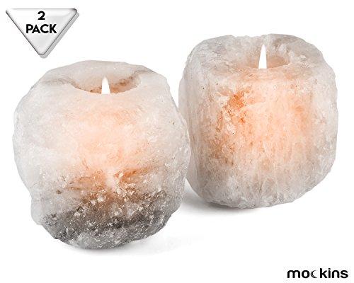 Mockins Natural Himalayan White Salt 2.5-lbs Tea Light Holder 2 Pack - Best