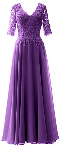 MACloth Women Evening Formal Mother V Half Gown Bride Dress Sleeves Regency of Neck TTtqrw