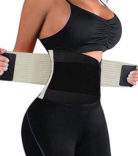 HURMES Waist Trainer Belt for Women - Waist Cincher Trimmer Slimmer Body Shaper Belt (Beige, L) (Slimmer Shaper)