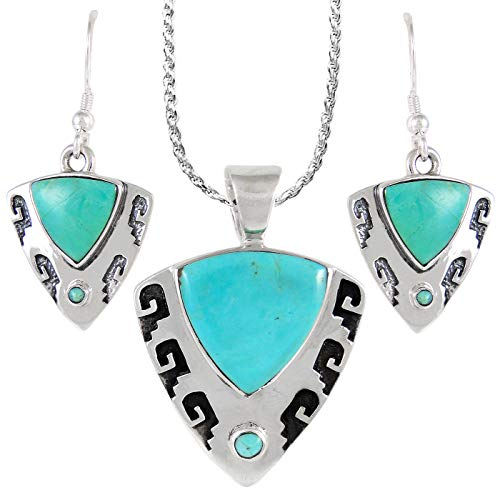 Sterling Silver and Genuine Turquoise Necklace & Earrings Matching Set (Proud Shields)