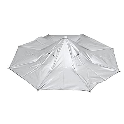 eDealMax Viajes Campo Cinta elástica Doblado Lluvia paraguas de sol Sombrero gris Plata
