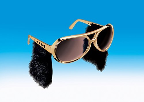 Elvis Presley Sideburns (Loftus Star Power Rock & Roll Elvis Sideburn Sunglasses, Gold Black, One)