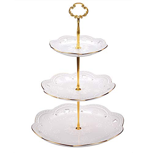 EAMATE 3-tier Round Ceramic Cupcake Stand for Wedding and Birthday Party