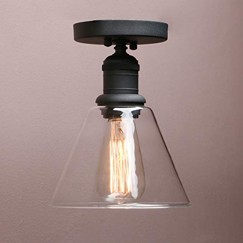 Vintage Wall Sconce, Yosoan 1-Light Industrial Semi Flush Mount Ceiling Light Fixture Pendant Lighting with Funnel Flared Clear Glass Shade(Black)