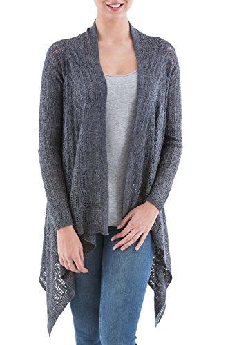 NOVICA Grey Alpaca Wool Blend Sidetail Cardigan Sweater, Gray Mirage'