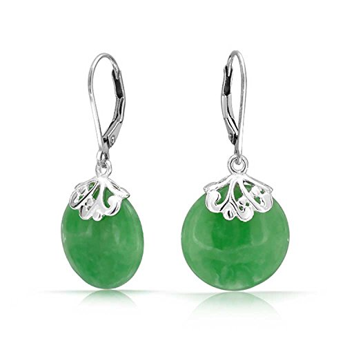 - Bali Style Gemstone Dyed Jade Round Disc Filigree Drops Leverback Dangle Earrings For Women 925 Sterling Silver