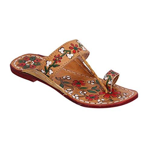 Hippie Buffalo Jesus Woman Kolhapuri Sandle INDCROWN Flat Print Sandle Red Water Leather Flower 100 Indian gwdnqxfTxS