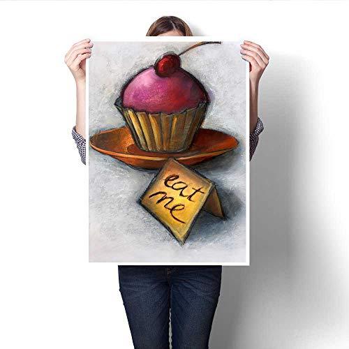 Anshesix Canvas Wall Art Alice s Cupcake Frameless Canvas Texture decoration20 x24
