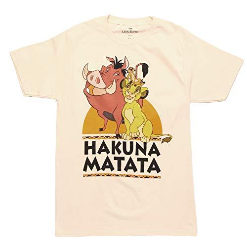 (Lion King Hakuna Matata Trio Adult T-Shirt - Cream (Small))
