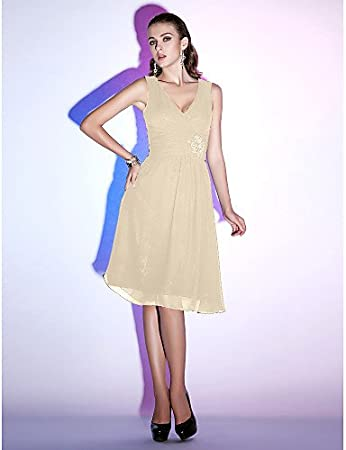 c31def1219863c HY&OB V-Neck Knee Length Chiffon Cocktail Party Homecoming Holiday Dress  With Beading Criss Cross