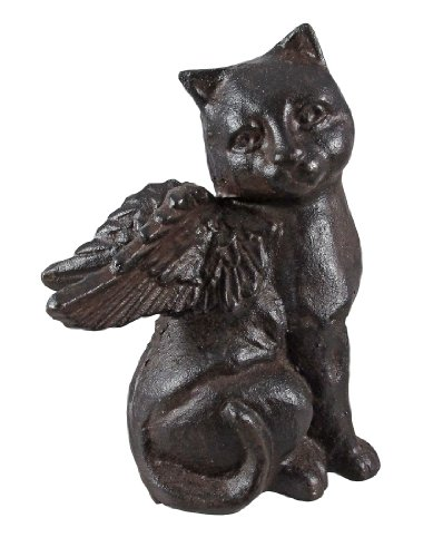 Cast Iron Angel Cat Statue Figure