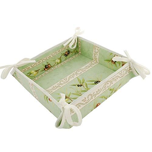 Provence Bread Basket by Tissus Toselli - Olive & Stripe Design,Ivory Trim