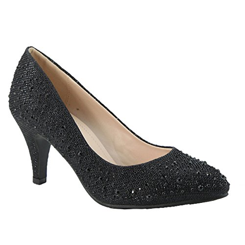 ANNA BECKHAM-10 Women Glittered Fashion Stiletto Pointed Toe Heel, Color:BLACK, Size:6.5