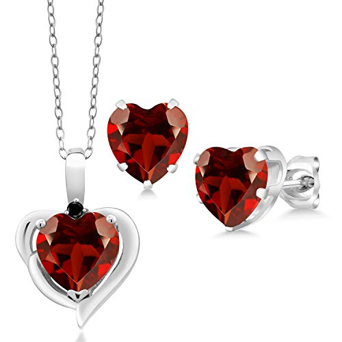 Gem Stone King 6.02 Ct Heart Shape Garnet Black Diamond 925 Silver Pendant Earrings Set
