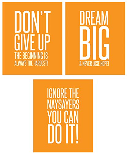 Ignore The Naysayers 3 Poster Set Famous Quotes Teen Boy Girl Sports Wall Art Decorative Prints Workout Fitness Wall Decor Home Office Business Classroom Dorm Gym Entrepreneur (8 x 10 Orange)
