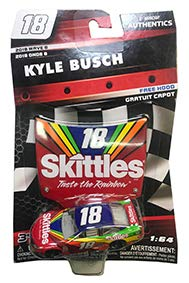 - 2018 NASCAR Authentics Kyle Busch #18 Skittles 1/64th Scale Diecast with Bonus Matching Hood