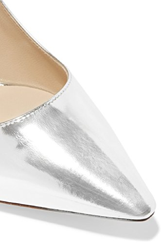 Kolnoo Femmes Cuir verni 100mm Slip-on Parti High Heel Chaussures Black silver 4gqdEEBKI
