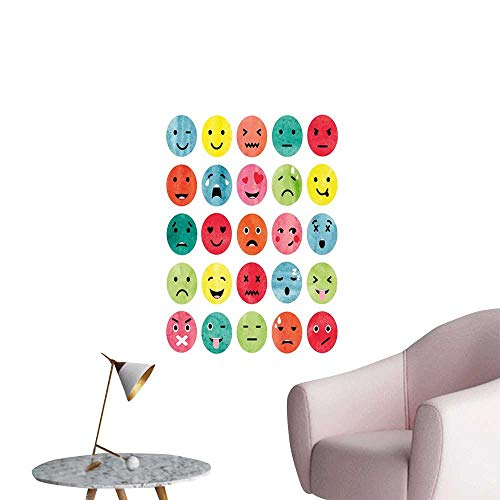 Emoji Stickers Wall Murals Decals Removable Watercolor Abstract Facial Expressions Winking Crying Loving Surprised Collection Home Decor Multicolor W24 x H36