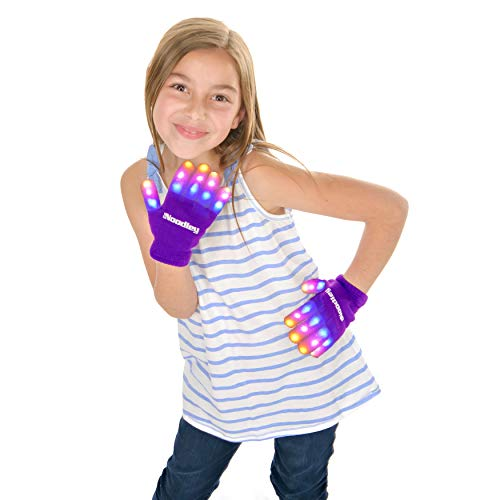 The Noodley's Flashing LED Light Gloves for Kids Boys Sensory Toys for Girls 4 5 6 7 Years Dance Costume Accessories (Purple, Small)