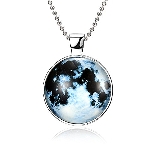 Glow Pendant Necklace - RINHOO Magical Fairy Glow in The Dark Moon Bead Chain Pendant Necklace White Gold Plated (Style 3)