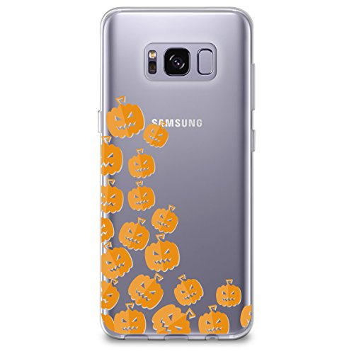 (CasesByLorraine Samsung S8 Case, [Full Coverage Screen Protector Included-NOT Glass] Halloween Cute Pumpkins Clear Transparent Case Flexible TPU Soft Gel Protective Cover for Samsung Galaxy S8)