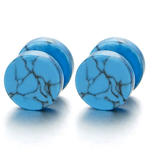 (2pcs 10MM Blue Marble Stud Earrings Men Women, Steel Cheater Fake Ear Plugs Gauges Illusion Tunnel)