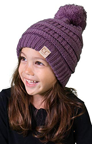 Cap Angel Little Womens (H-6847-79 Girls Winter Hat Warm Knit Kids POM Beanie - Violet)