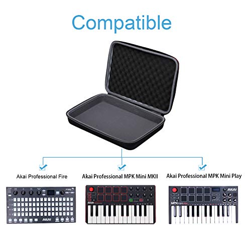 XANAD Hard Case for Akai Professional Fire or MPK Mini MKII or MPK Mini Play Keyboard – Storage Travel Carrying…