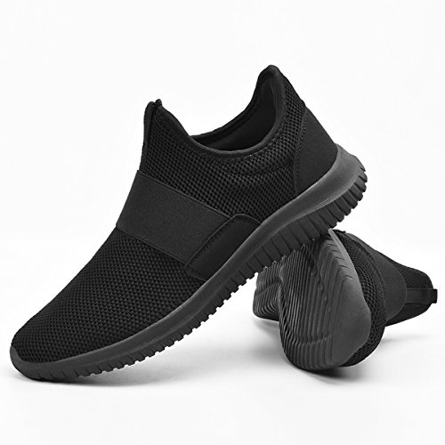 Qansi Mens Sneakers Respirant Léger Athlétique Chaussures Maille Mode Sneakers Noir