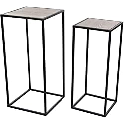 "Deco 79 65624 Metal and Wood Square Pedestal Set of 2, 25"" x 28"""
