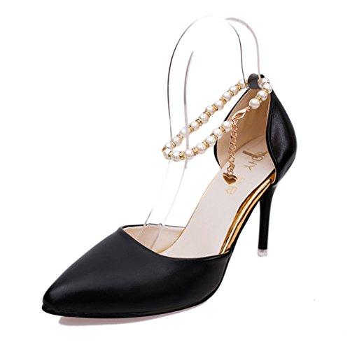LBDX La Primavera y el Otoño de La Versión Coreana Señaló Los Tacones Altos Delgados Talones Zapatos de Las Mujeres Atractivas Negro