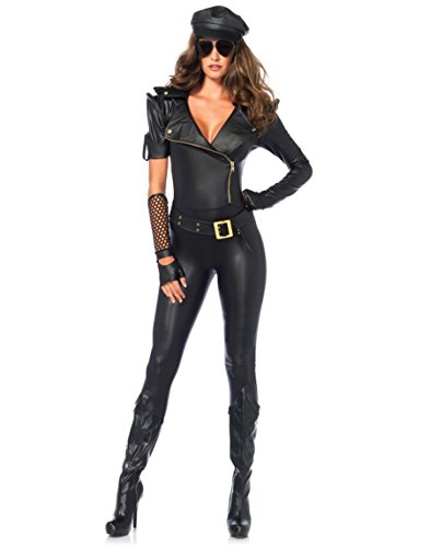 [Leg Avenue Women's 4 Piece Easy Rider Biker Costume, Black, Large] (Biker Halloween Costumes For Adults)
