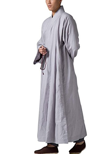 Katuo Gray Men's Long Gown Traditional Buddhist Meditation Monk Robe (M)