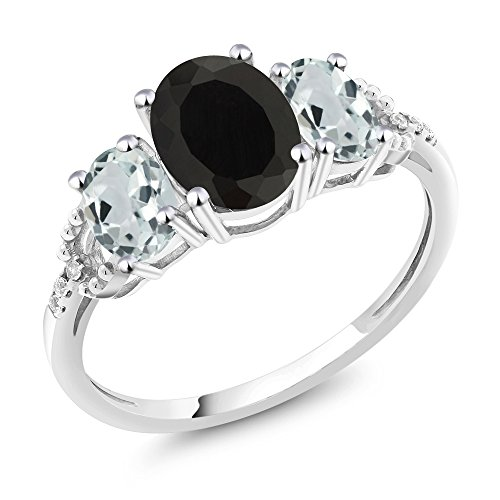 10K White Gold Diamond Accent Three-Stone Engagement Ring set with 2.16 Ct Oval Black Onyx Sky Blue Aquamarine (Available in size 5, 6, 7, 8, 9)