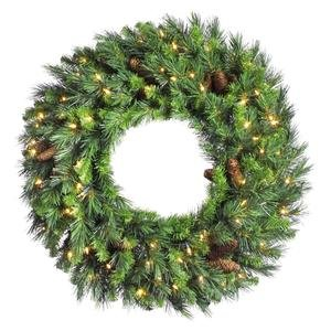 Vickerman Pre-Lit Cheyenne Pine Wreath with 200 Warm White Italian LED Lights, 60-Inch, Green (Outdoor Lighted Wreaths Christmas)