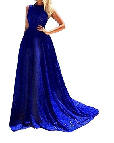 Sommer Damen SpitzehäKelarbeit Blau Kleid ärmellos Rundkragens Brautkleid Festkleid Party Cocktail Abendkleid Abschlussballkleid