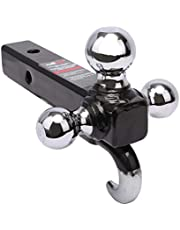 PEAKTOW PTT0062 Class III/IV 2 inches Trailer Hitch Triple Ball Mount with Hook, Hollow Shank Tow Hitch, Black & Chrome