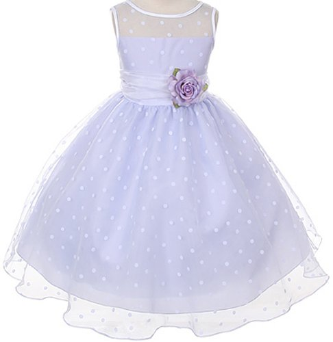 Lavender Organza Special Occasion Dress with White Polka Dots Girls - 2T ()