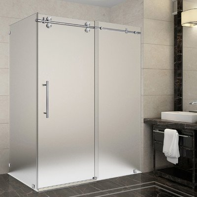 Aston SEN979F-SS-60-10 Langham 56-60 in. x 35 in. x 75 in. Completely Frameless Sliding Shower Enclosure, Frosted Glass, 56