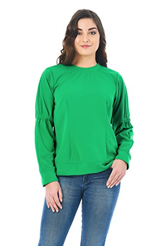 eShakti Women's Elastic Ruched Sleeve Twill Knit Top 3X-24W Regular Green (Stretch Twill Slip)