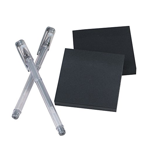 Eagle Black Sticky Notes, 3X3 Inch, 100 Sheets/Pad, 2 Pads, Plus 2 Silver Gel Pens