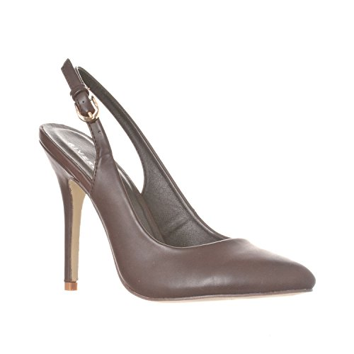 ucy Pointed-Toe, Sling Back Pump Stiletto Heels, Coffee PU, 9 ()