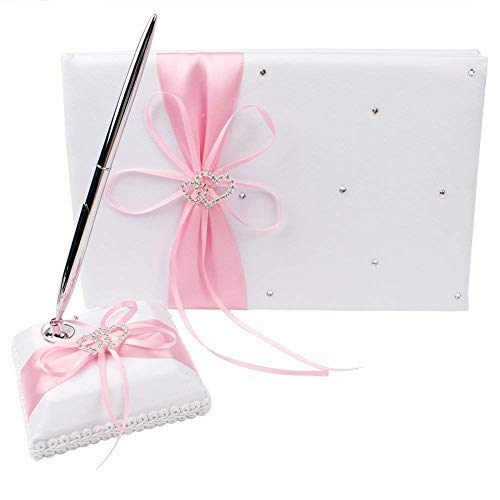 Pink Wedding Guest Book and Pen Set for Weddings &Festive Party Special Occasions with Double Heart Pink