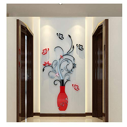 Wociaosmd DIY 3D Acrylic Crystal Wall Stickers Living Room Bedroom TV Background Home Decoration (Red)