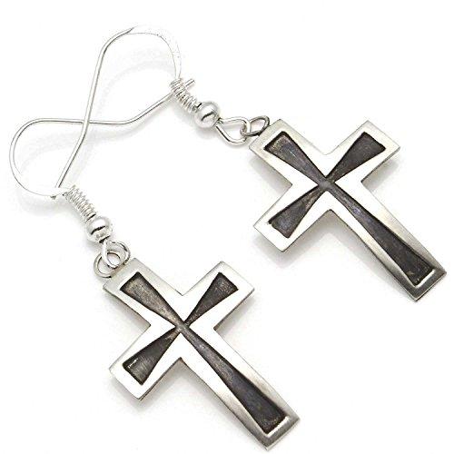 Navajo Silver Overlay Cross Earring by Gene